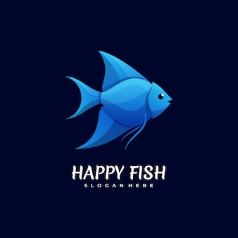 Logo illustration happy fish gradient colorful style.