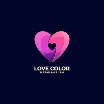 Logo illustration heart gradient colorful style.