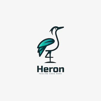 Logo illustration heron gradient line art style.