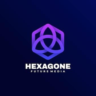 Logo illustration hexagon gradient colorful style