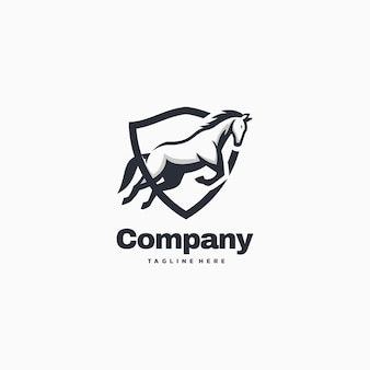 Logo illustration horse company simple mascot sty