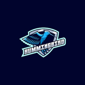 Logo illustration humming bird e sport sport style