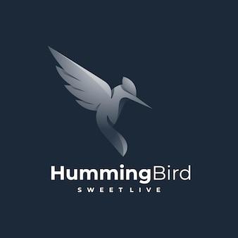 Иллюстрация логотипа колибри градиент красочный стиль.
