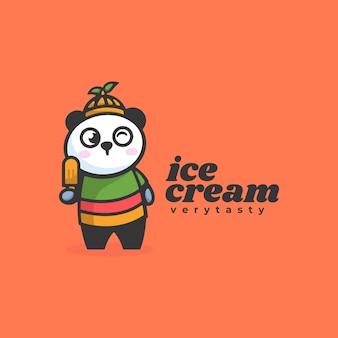 Логотип иллюстрация талисман мороженого мультяшном стиле.