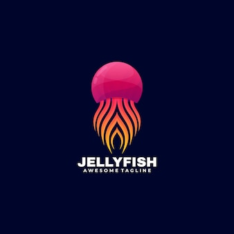 Logo illustration jelly fish gradient colorful style.