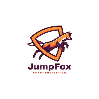 Logo illustration jump fox simple mascot style