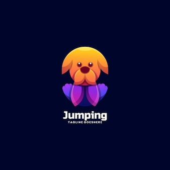 Logo illustration jumping dog gradient colorful style.