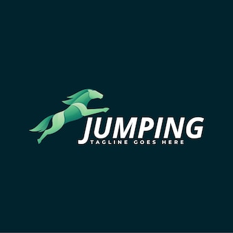 Logo illustration jumping gradient colorful style.