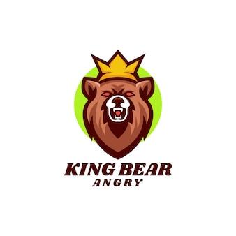 Иллюстрация логотипа король медведь талисман мультяшном стиле