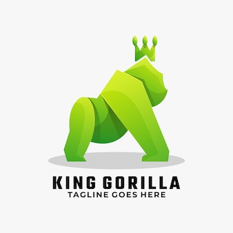 로고 일러스트 킹 고릴라 그라데이션 다채로운 스타일.