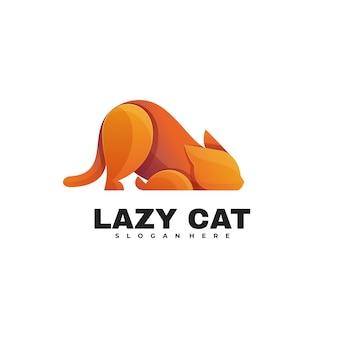 ロゴイラスト怠惰な猫グラデーションカラフルなスタイル。