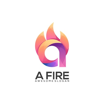Logo illustration a letter with fire gradient colorful style