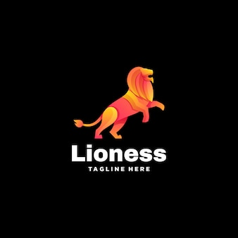 Logo illustration lioness gradient colorful style.