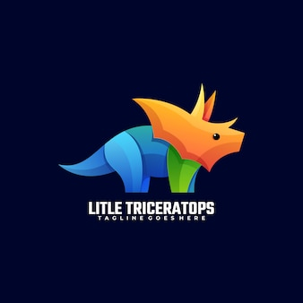 Logo illustration little triceratops gradient colorful style.