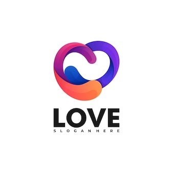 Логотип иллюстрация любовь градиент красочный стиль.