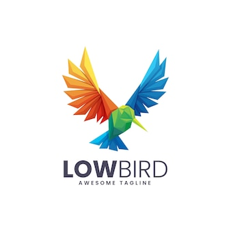 Logo illustration low bird low polly style.
