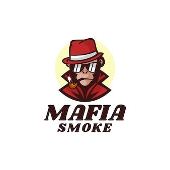 Logo illustration mafia monkey mascot cartoon style