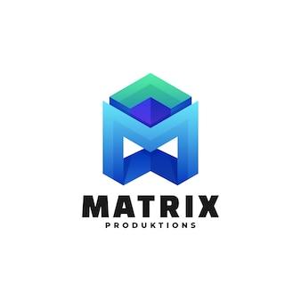 Логотип иллюстрация матрица градиент красочный стиль.