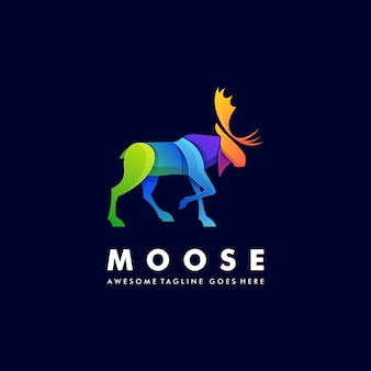 Логотип иллюстрация moose deer walking градиент красочный