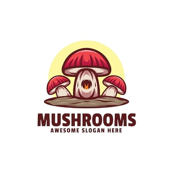 로고 그림 버섯 간단한 마스코트 스타일.