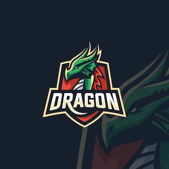 ロゴイラスト神話ドラゴンビーストスポーツとeスポーツエンブレムバッジスタイル