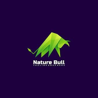 Логотип иллюстрация природы бык градиентом красочный стиль