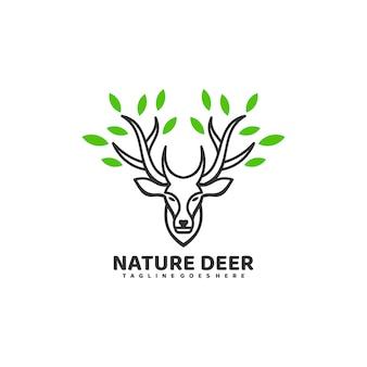 Логотип иллюстрация природа олень line art style.