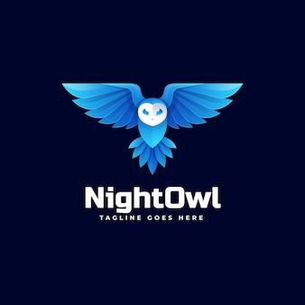 Логотип иллюстрация ночная сова градиентом красочный стиль