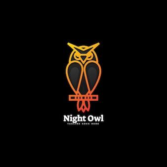 Logo illustration night owl gradient line art style