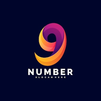 Logo illustration number gradient colorful style.