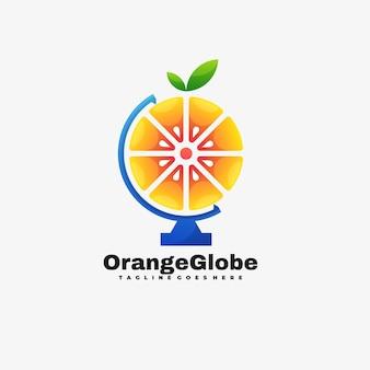 Logo illustration orange globe gradient colorful style.