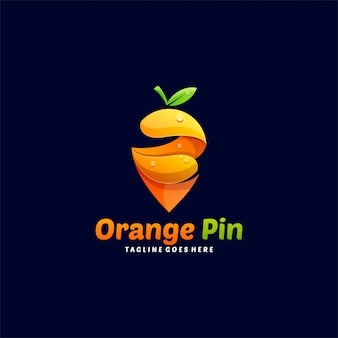 Logo illustration orange and pin gradient colorful style.