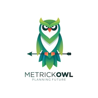 Иллюстрация логотипа сова градиентом красочный стиль