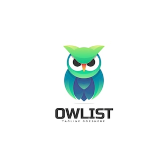 Logo illustration owl gradient colorful style.