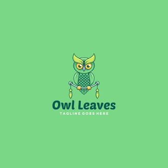 Logo illustration owl leaves cute cartoon
