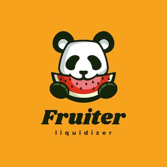 Logo illustration panda fruit simple mascot style.