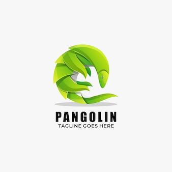 Логотип иллюстрация панголин градиент красочный стиль.