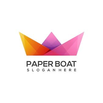 Логотип иллюстрации бумажный кораблик красочный градиент