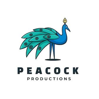 Logo illustration peacock simple mascot style.