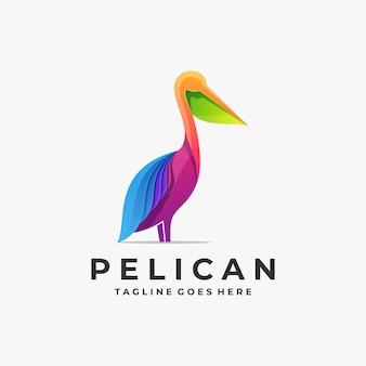 カラフルなペリカンのエレガントなグラデーションのロゴの図