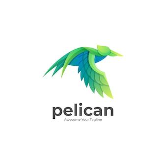 カラフルなペリカン飛行グラデーションのロゴの図