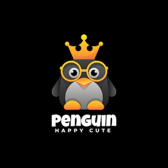 Logo illustration penguin gradient colorful style.