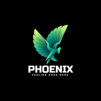 Logo illustration phoenix gradient colorful style.