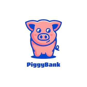 로고 그림 돼지 저금통 간단한 마스코트 스타일.