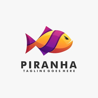 Логотип иллюстрация пиранья градиент красочный стиль.