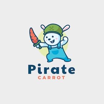 Логотип иллюстрации пиратский медведь талисман мультяшном стиле