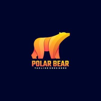 Логотип иллюстрация белый медведь градиент красочный стиль.