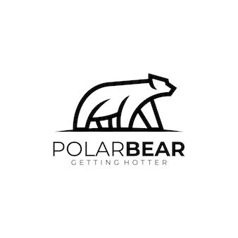 Логотип иллюстрация белый медведь линия арт стиль.