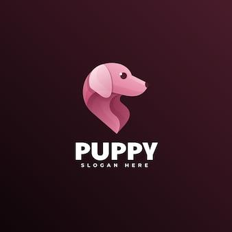 Логотип иллюстрация щенка градиентом красочный стиль