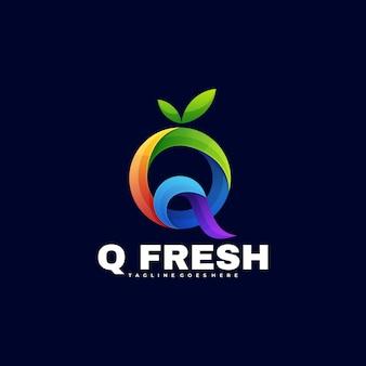 Логотип иллюстрация q свежий градиент красочный стиль.